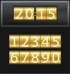 Number set from 1 to 9 digital clock gold vector