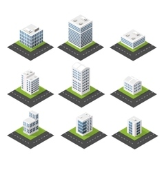 Urban isometric icons vector