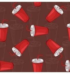 Seamless pattern scetch and color cola cup vector