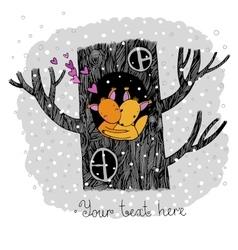 Lovers squirrel big beautiful tree vector