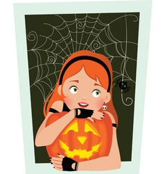 Girl with pumpkin halloween vector