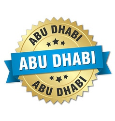 Abu dhabi round golden badge with blue ribbon vector