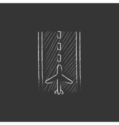 Airport runway drawn in chalk icon vector