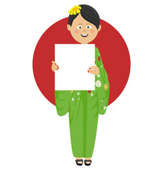 asian woman in kimono holding blank board vector image