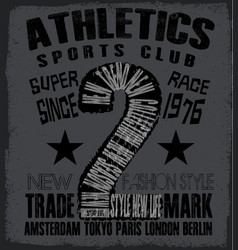 athletic sport tee graphic vector image vector image