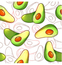 avocado seamless pattern whole avocados sliced vector image