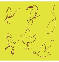 bird sketches vector image
