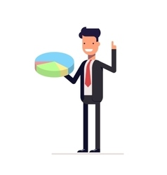 Businessman or manager with pie chart in hand man vector