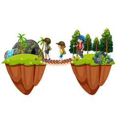 children hiking out in the woods vector image vector image