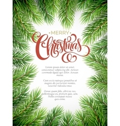 Christmas background with fir branches frame vector image