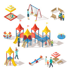 Colorful isometric playground elements set vector