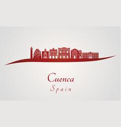 Cuenca skyline in red vector