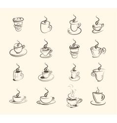 Cup of hot drink coffee tea etc big set vector