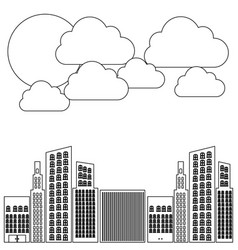 Figure builds with cloud and sun icon vector