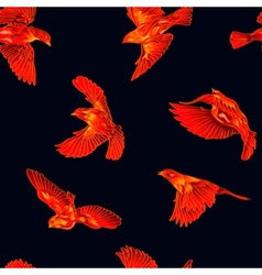 Fire birds seamless pattern vector image vector image