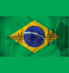 Flag of brazil with rio de janeiro skyline vector