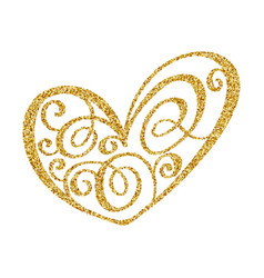 gold paint heart calligraphy on transparent vector image