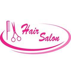 hair salon sign with design elements vector image vector image