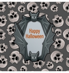 Halloween card with bat and skulls vector
