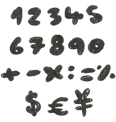 hand drawn blackened numbers vector image vector image