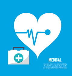 Medical heartbeat kit first aid health care vector