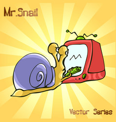 Mr snail with tv vector