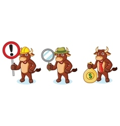 Ox Brown Mascot with money vector image vector image