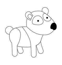 panda cartoon in black dotted contour vector image vector image
