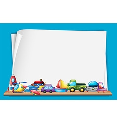 Paper template with many toys vector