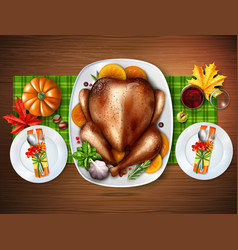 realistic top turkey composition vector image