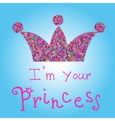 romantic colorful crown with pink title on vector image