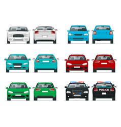 set cars sedan vehicle eco-friendly hi vector image vector image