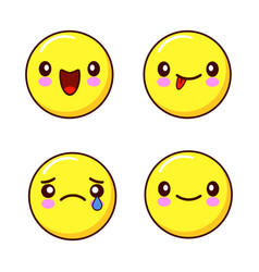 set of smiley face icons or yellow emoticons with vector image vector image