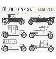 Set of the old isolated cars vector