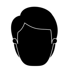 silhouette black faceless front view man with vector image