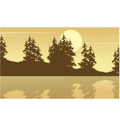 Silhouette of spruce with lake scenery vector