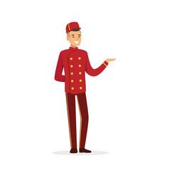 Smiling doorman character wearing red double vector