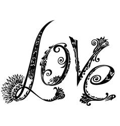 The inscription love vector