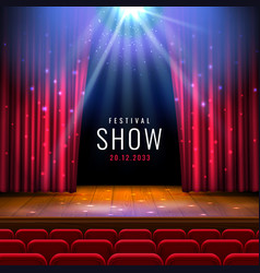 Theater wooden stage with red curtain spotlight vector