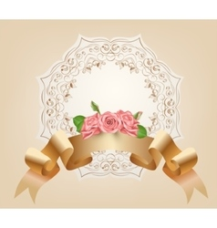 Vintage pastel decorative ribbon with flowers vector image vector image