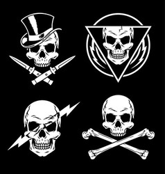 Skull graphics emblem set vector image