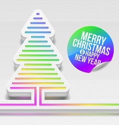 Abstract christmas tree with multicolor decor vector