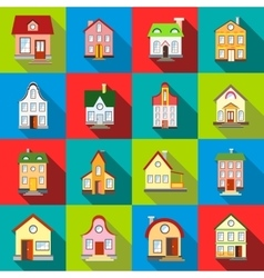 House icons set flat style vector
