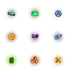 Garage icons set pop-art style vector