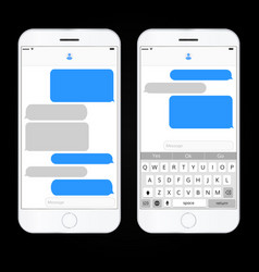 Realistic mobile phone with messaging interface vector