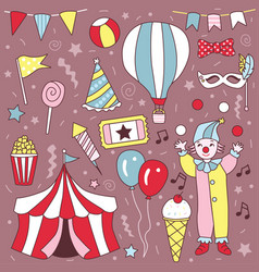 Hand drawn cute carnival clown party set vector