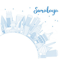 Outline surabaya skyline with blue buildings and vector