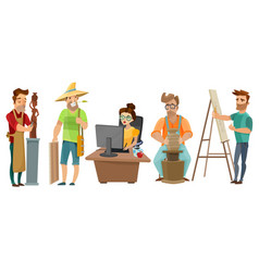 Artists freelance creative people cartoon set vector