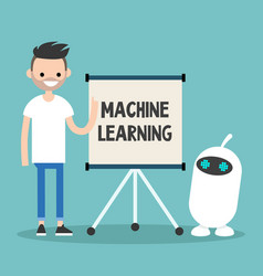Machine learning conceptual young character vector