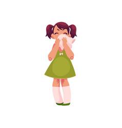 Crying little girl with big handkerchief vector